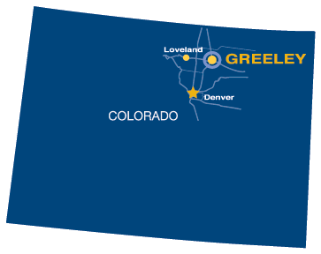 Simple map image of Colorado showing UNC campus and center locations