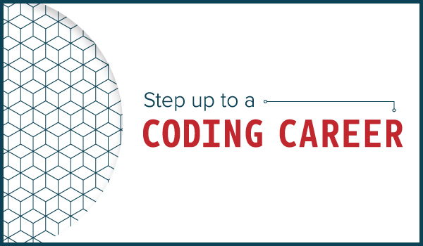 Textured image encouraging potential students to step up to a career in coding.
