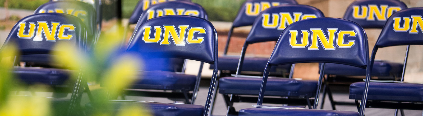 Photo of UNC logo chairs at graduation